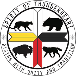 """Spirit of Thunderheart Rising with Unity and Tradition"" in a circular logo with animal silhouttes, links to performer's Facebook page"