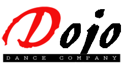 """""""Dojo Dance Company"""" in red, black, and white letters, links to performer's website"""
