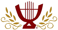 Group logo featuring lyre and laurel branches, links to performer's website