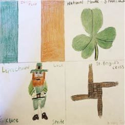 A handmade quilt square with an Irish flag, a three leaf clover, leprechaun, and unclear writing