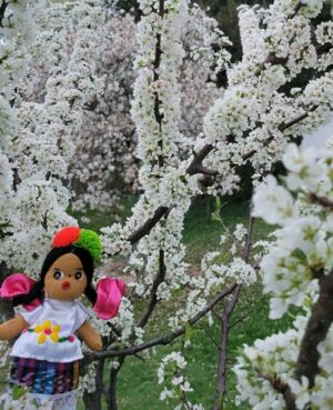 Handcrafted worry doll in front of a white blooming tree outside.